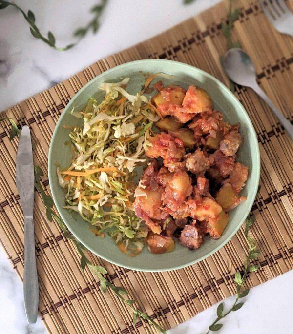 Cassava sweet potato and arrow root with salad